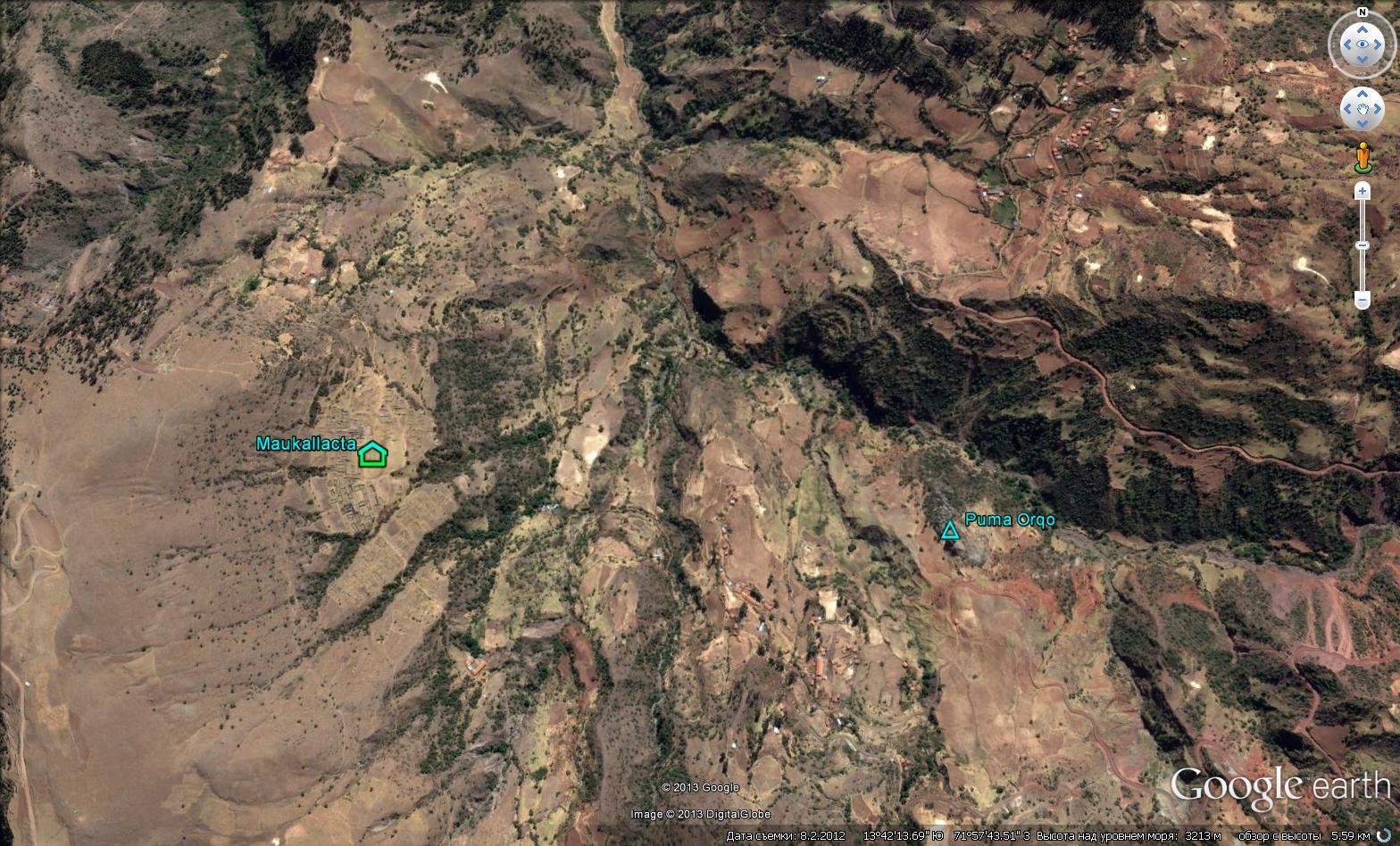 Месторасположение поселения Маукаллакта и скала Пума Орго