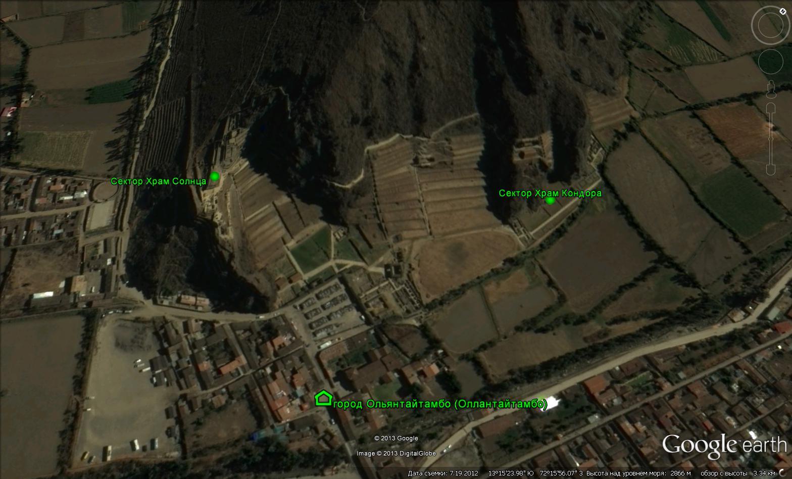 Условное разделение археологического комплекса Ольянтайтамбо на сектора