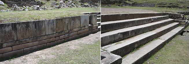 Слева - облицовка гранитными плитами и блоками, справа – гранитная лестница. (фото - http://vicuna.ru/index.php/piedras/chavin-de-huantar/tecnologia/ )