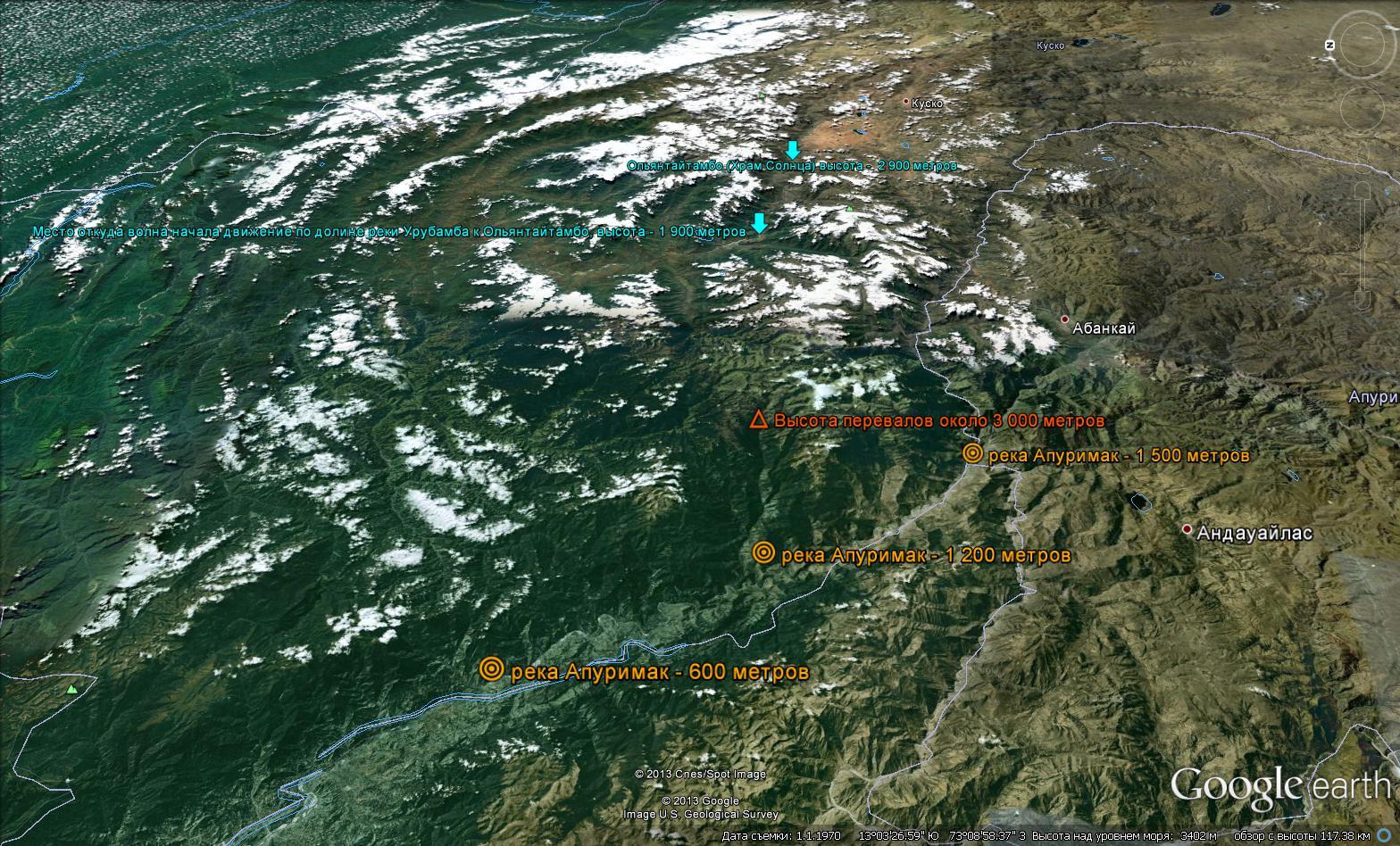 Топография от долины реки Апуримак до Ольянтайтамбо