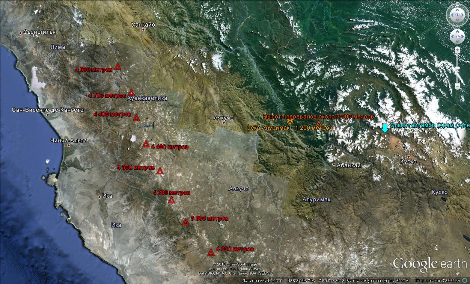 Топография от Тихого океана, через Анды, до археологического комплекса Ольянтайтамбо