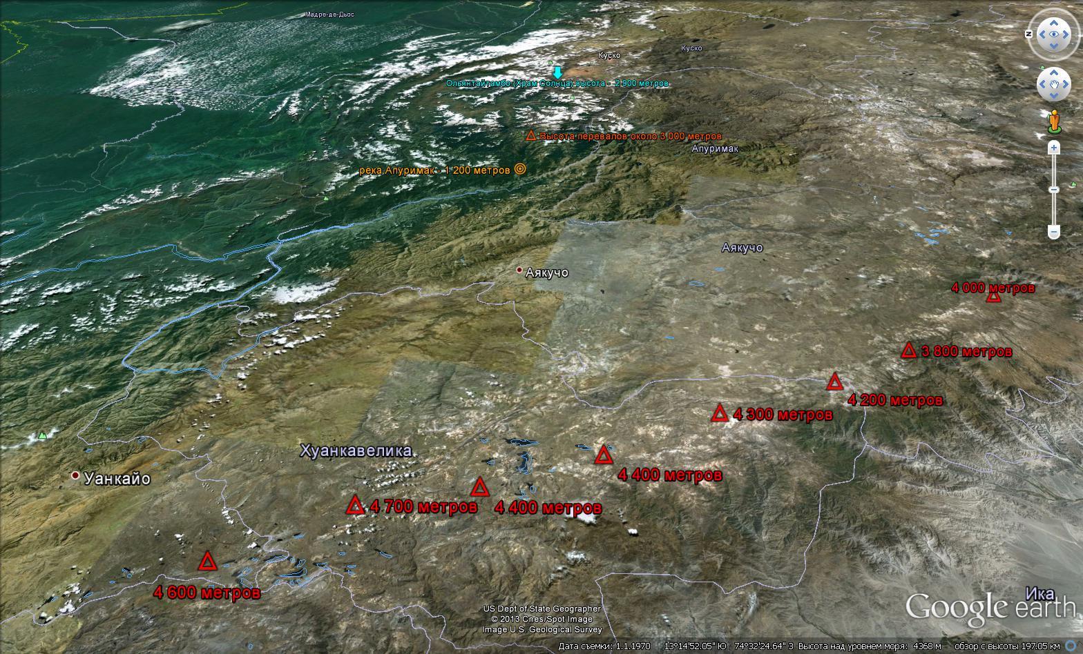 Топография от Тихого океана, через Анды, до археологического комплекса ОльянтайтамбоТопография от Тихого океана, через Анды, до археологического комплекса Ольянтайтамбо