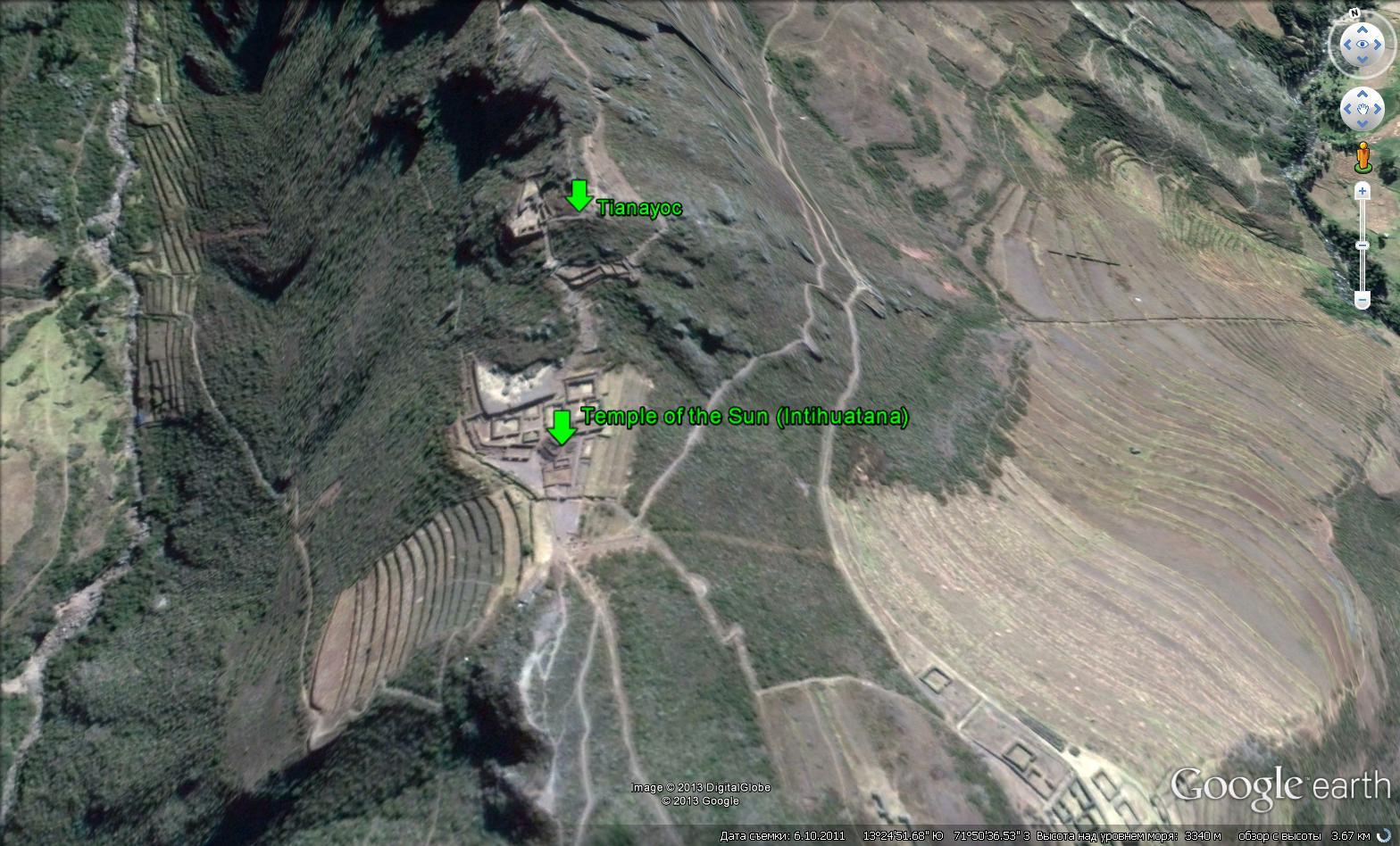 Храм Солнца (Temple of the Sun in the Pisaq) (Интиуатана (Intihuatana)) в археологическом комплексе Писак