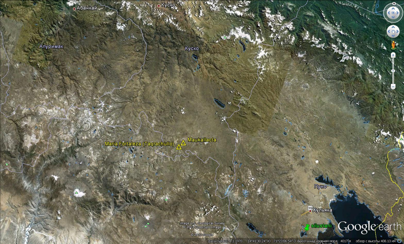 Месторасположение объектов Крепость Марии, Маукаллакта и Силустани