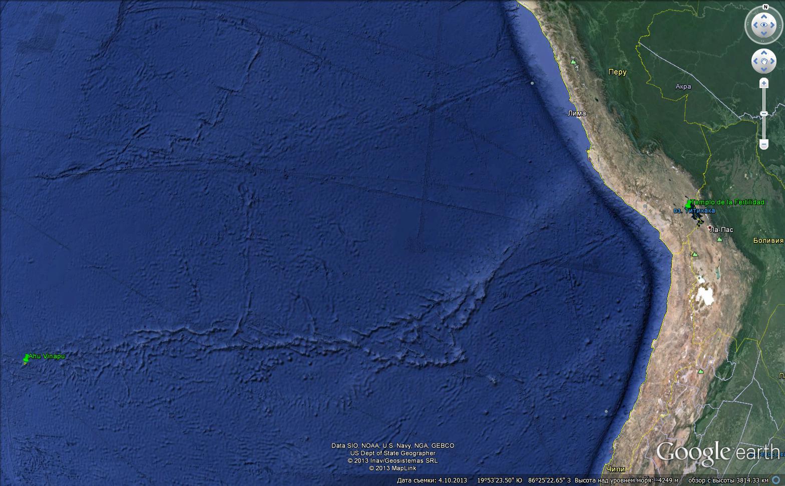 Рис.3.3 Расстояние между Островом Пасхи и Храмом плодородия в Перу.
