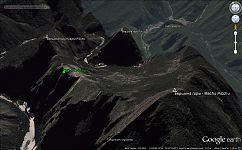 Рис.2.1 Расположение Мачу Пикчу относительно горных вершин.